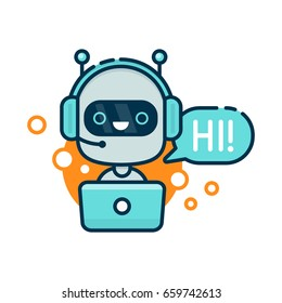 Cute smiling robot,ai chat bot hi.Vector cartoon character illustration icon.Isolated on white background.Speak bubble.Voice support service chat   bot,online help customer assistant support logo icon