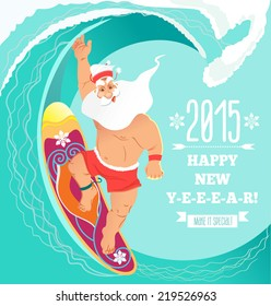 Cute smiling Santa riding surfing board. Happy new year 2015 card/background/banner.Vector illustration
