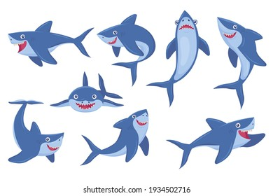 Cute smiling shark flat pictures collection. Cartoon comic predator fish in different poses isolated on white background vector illustrations. Underwater wildlife and ocean animals concept