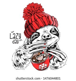 Cute smiling sloth in a red knitted hat and with a cup of coffee. Lazy day - lettering quote. Christmas and New Year card, t-shirt composition, handmade vector illustration.
