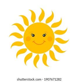 Cute smiling sun cartoon icon. Vector illustration