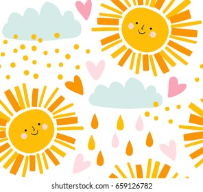 Cute smiling sun, clouds and raindrops vector pattern. Summer background. Funny design for kids and baby clothing.