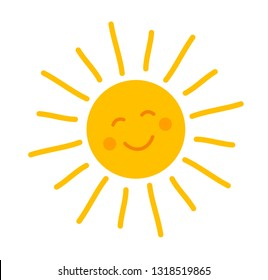 Cute smiling sun icon. Vector illustration