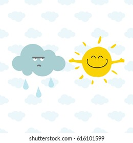 Cute Smiling Sun and Rainy Cloud on seamless pattern with light clouds. Card for kids or poster for the children's room. Cartoon vector Illustration.