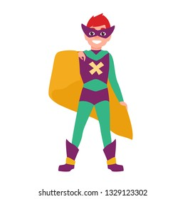Cute smiling superboy or superchild. Happy boy wearing mask, bodysuit and cape standing in powerful position. Fantastic kid hero or secret agent with super power. Flat cartoon vector illustration.