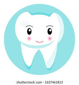 Cute smiling tooth icon. National Dental Hygiene month, week, day. Dentistry symbol vector for children. Happy funny tooth design for dentist website.