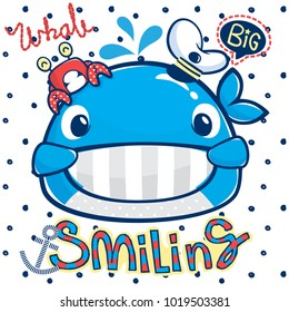 Cute smiling whale wearing captain hat with little crab on polka dot background illustration vector.