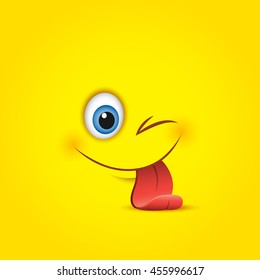 Cute smiling and winking emoticon, sticking out his tongue isolated on yellow background - vector illustration