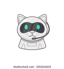 Cute smiling working chat bot. Chat bot robot icon. Futuristic cat machine character. Virtual chat help program. Cat robot friend. Isolated on white background.