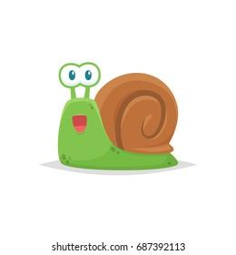 Cute snail cartoon vector isolated
