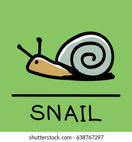 Cute Snail hand-drawn style,drawing,hand drawn vector illustration.