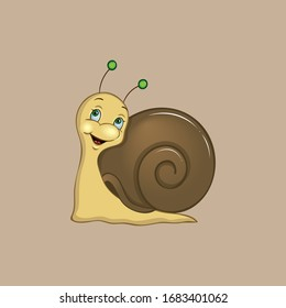 Cute snail isolated on brown background