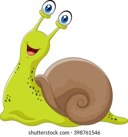 Cute snail isolated on white background