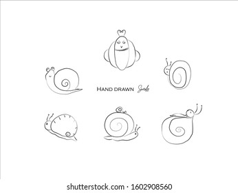 cute snails hand drawn icon vector set line art, Doodle Cartoon Animals in black and white style, Perfect for invitations,greeting cards, prints, posters