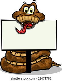 Cute Snake holding up sign.Separated into layers for easy editing./Cute Snake holding sign