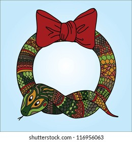 Cute snake wreath for Chinese New Year