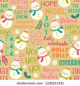 Cute snoman and fun typography with christmas elements seamless pattern background