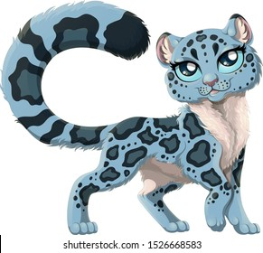 Cute snow leopard with magnificent long tail. Vector illustration of beautiful smiling irbis isolated on white background. Gorgeous snow leopard with big blue eyes.