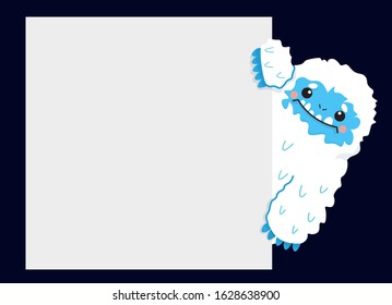 Cute snow yeti with blank sign placard vector image. Isolated on dark background.