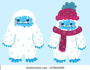 Cute snow yeti vector image. Isolated on light background. With winter clothes.