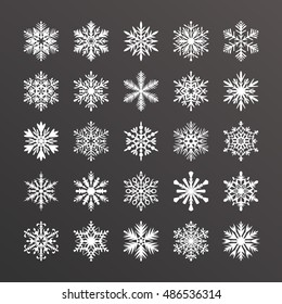 Cute snowflake collection isolated on blue background. Flat icons of snow flakes silhouette. Nice element for christmas, new year banner, cards. Organic and geometric ice set.