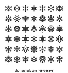 Cute snowflake collection isolated on white background. Flat icons of snow flakes silhouette. Nice element for christmas, new year banner, cards. Organic and geometric ice set.