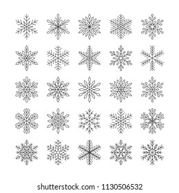 Cute snowflakes collection isolated on white background. Flat snow icons, snow flakes silhouette. Nice element for christmas banner, cards. New year ornament. Organic and geometric snowflake set.