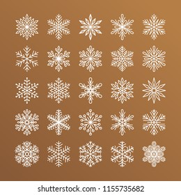 Cute snowflakes collection isolated on gold background. Flat line snow icons, snow flakes silhouette. Nice element for christmas banner, cards. New year ornament.