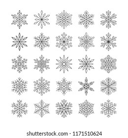 Cute snowflakes collection isolated on white background. Flat line snow icons, snow flakes silhouette. Nice element for christmas banner, cards. New year ornament.