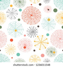 Cute snowflakes. Vector seamless pattern. Seamless pattern can be used for wallpaper, pattern fills, web page background, surface textures.