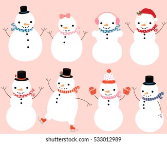Cute snowman characters with winter scarves, hats and mittens for Christmas and New Year greeting cards and designs