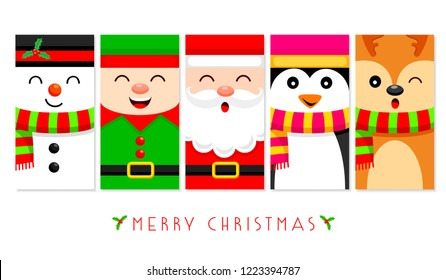 Cute snowman, Christmas elf, Santa Claus, penguin and reindeer in flat design. Vector illustration, Christmas character greeting template design for label, tag, bookmark, card and print.
