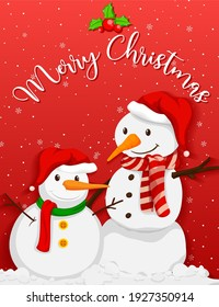 Cute snowman with christmas tree on red background illustration