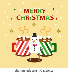 Cute Snowman with Cocoa Cups on yellow background.Merry Christmas Card.Vector illustration.