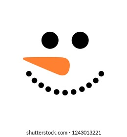 Cute snowman face - vector. Snowman head. Vector illustration isolated on white background.