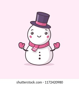Cute snowman kawaii vector illustration