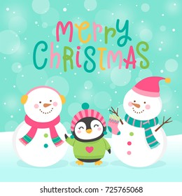 Cute snowman and penguin cartoon illustration for christmas card template