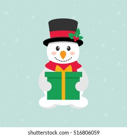 cute snowman with a present