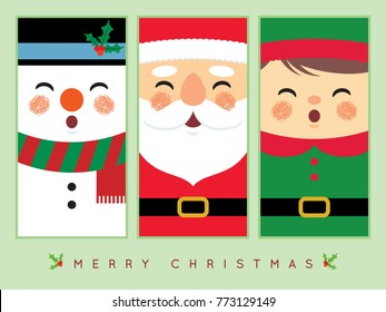Cute snowman, santa claus, and christmas elf in flat design. Vector christmas character. Christmas greeting template design for label, tag, bookmark, card or print.