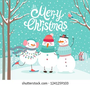 Cute snowmen hugging. Merry Christmas card. Vector illustration.