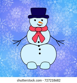 Cute snowmen on color background with snowflake. Vector illustration for new year and christmas design