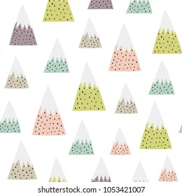 Cute snowy mountains seamless pattern. Nature background. Vector illustration