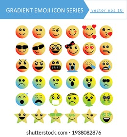 Cute social media gradient emoji set on white background. Fully editable and royalty free.