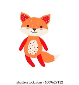 Cute soft fox pup plush toy, stuffed cartoon animal vector Illustration