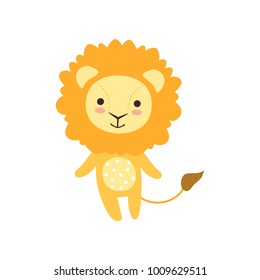 Cute soft lion plush toy, stuffed cartoon animal vector Illustration