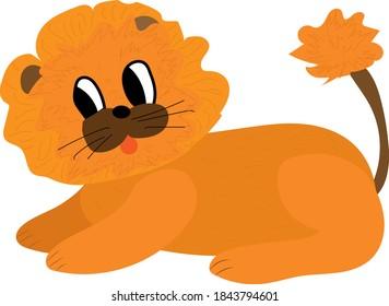 Cute soft lion plush toy, stuffed cartoon animal vector Illustration.