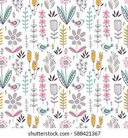 Cute soft-colored seamless floral pattern