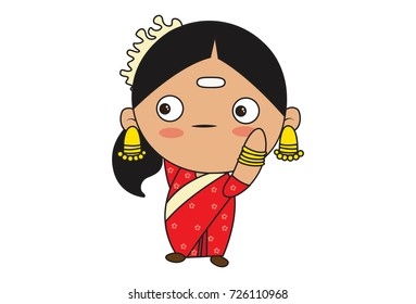 Cute South Indian Lady Character . Vector Illustration. Isolated on white background.
