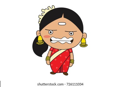 Cute South Indian Lady Character Annoyed. Vector Illustration. Isolated on white background.