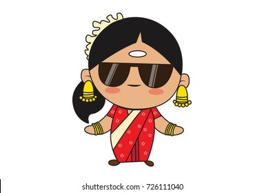 Cute South Indian Lady Character with a swag. Vector Illustration. Isolated on white background.